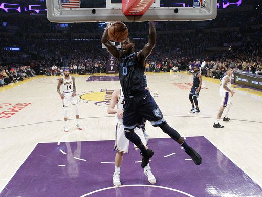 386c429e8 Memphis Grizzlies  JaMychal Green (0) dunks against the Los Angeles Lakers  during the