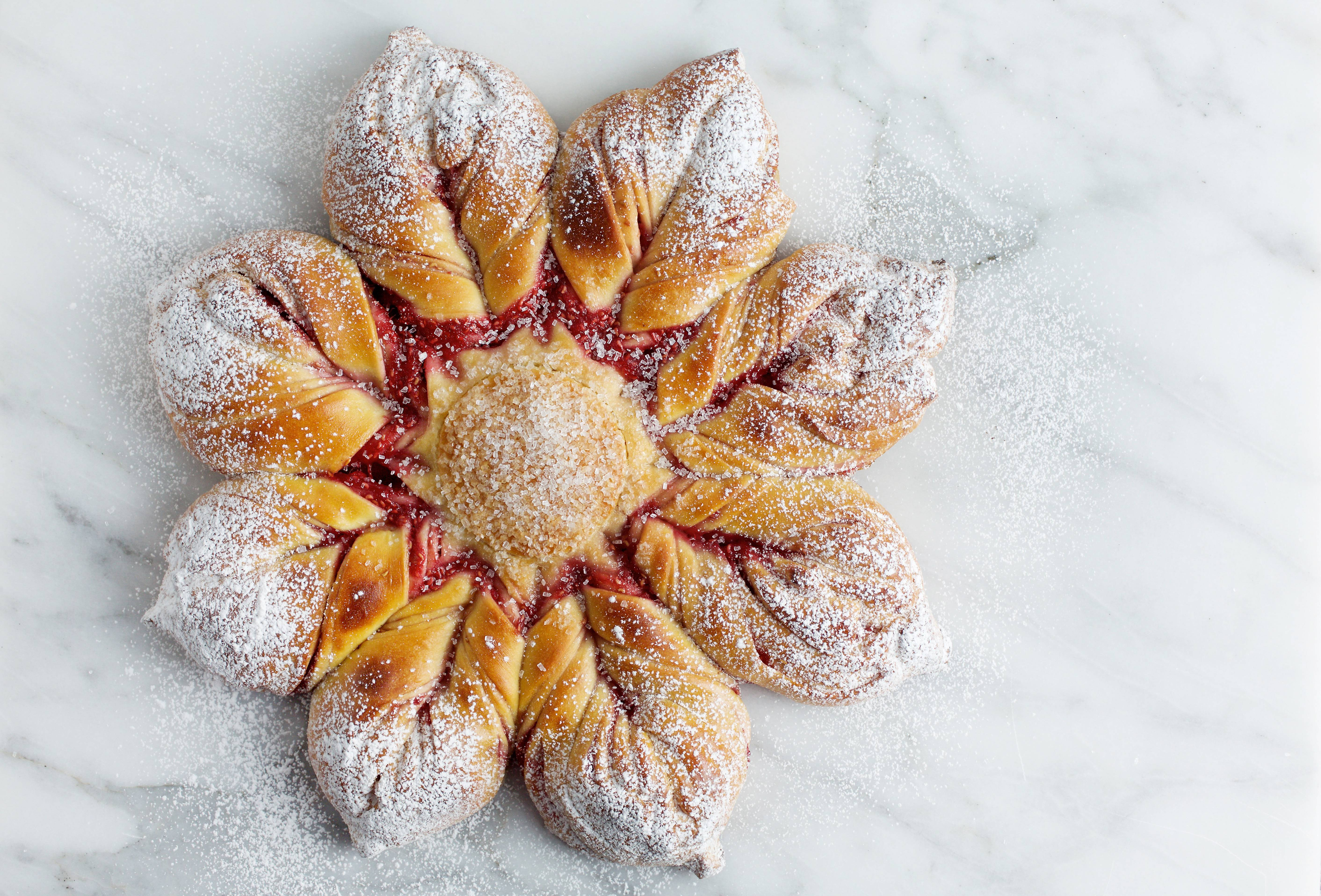 "The best part about this holiday loaf is not that it's so very appealing, but that it is fairly easy to do. Raspberry Star Bread is adapted from ""Holiday and Celebration Breads in Five Minutes a Day: Sweet and Decadent Baking for Every Occasion,"" by Zoe Francois and Jeff Hertzberg (St. Martin's Press, 2018)."