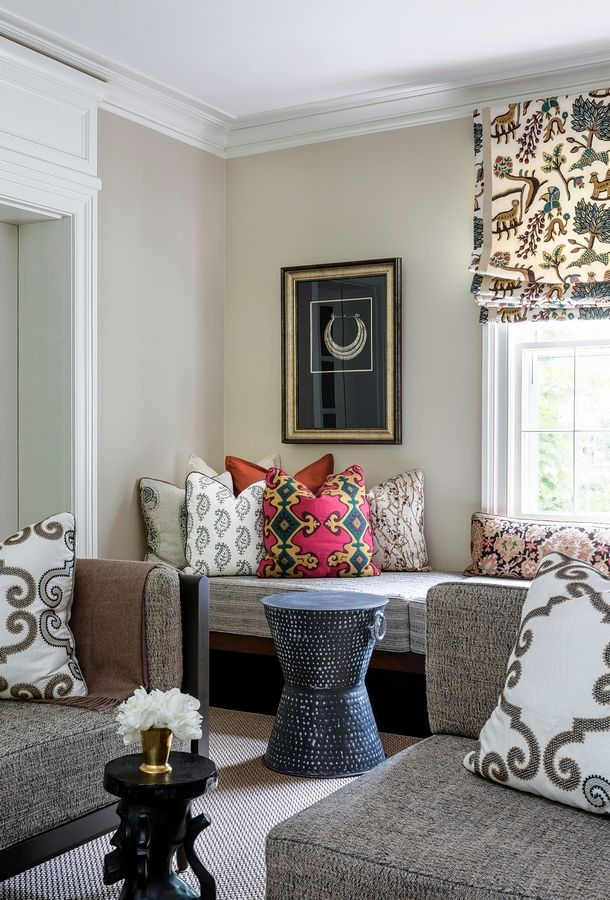 Among the trends emerging for 2019 are an embrace of patterned fabrics that can be paired together, as seen in this Washington, D.C.-area living room designed by interior designer Marika Meyer.