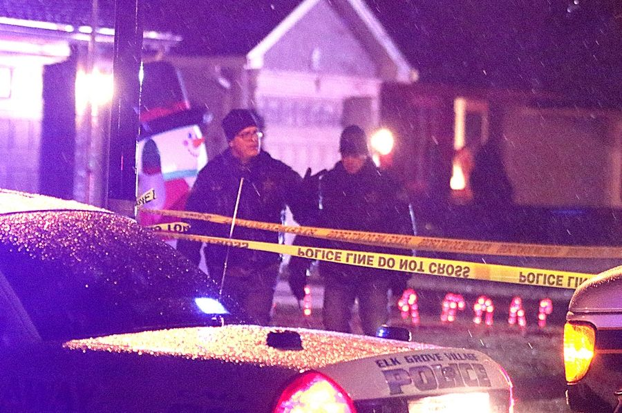 Police monitor a scene on West Brantwood Avenue at Chelmsford Lane in Elk Grove Village on Monday night.