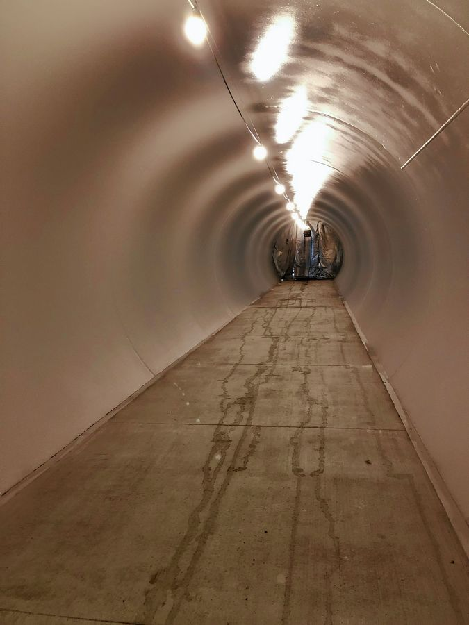 Pedestrians can bypass the Union Pacific railroad tracks at Taylor Avenue through a new illuminated tunnel.
