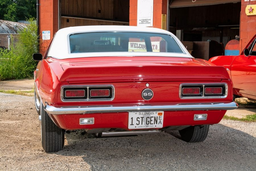 The 1968 Camaro RS/SS is painted in Chevrolet's Matador Red.