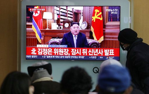 "People watch a TV news on a screen showing North Korean leader Kim Jong Un's New Year's speech, at Seoul Railway Station in Seoul, South Korea, Tuesday, Jan. 1, 2019. The letters on the screen read: "" North Korean leader Kim Jong Un's New Year Speech."" North Korean leader Kim says he hopes to extend his high-stakes nuclear summitry with President Donald Trump into 2019, but also warns Washington not to test North Koreans' patience with sanctions and pressure."