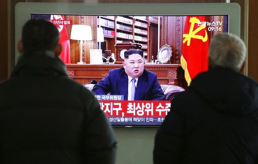 "People watch a TV screen showing North Korean leader Kim Jong Un delivering a New Year's speech, at Seoul Railway Station in Seoul, South Korea, Tuesday, Jan. 1, 2019. The letters on the screen read: "" The best level."" North Korean leader Kim says he hopes to extend his high-stakes nuclear summitry with President Donald Trump into 2019, but also warns Washington not to test North Koreans' patience with sanctions and pressure."