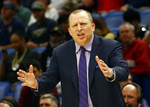 Minnesota Timberwolves head coach Tom Thibodeau reacts to a call during the first half of an NBA basketball game against the New Orleans Pelicans, Monday, Dec. 31, 2018, in New Orleans.