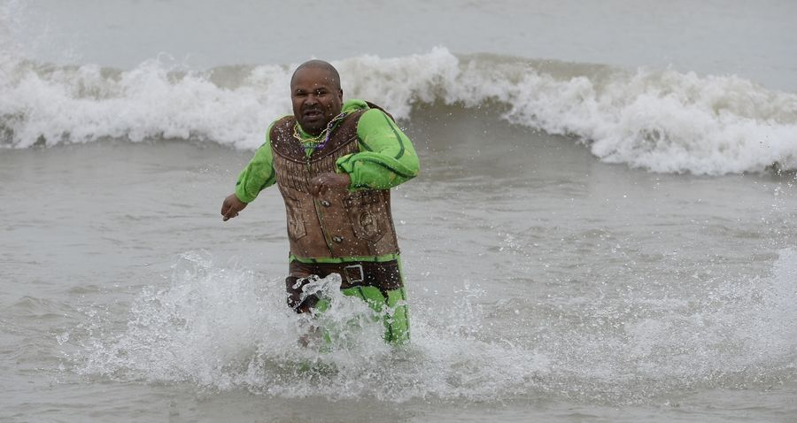 The 20th annual Polar Bear Plunge challenge was met by more than 100 enthusiastic participants like Shawn White of Zion who wanted to do good for the Waukegan Special Recreation Services.