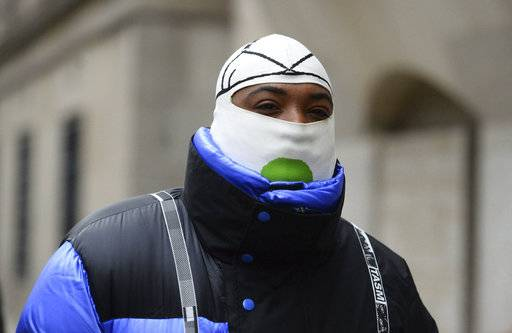 A$AP Bari, real name Jabari Shelton, arrives at the Old Bailey in central London, Thursday Jan. 3, 2019. The American hip hop impresario and fashion designer has been fined for sexual assault after pleading guilty in a London court. (Kirsty O'Connor/PA via AP)