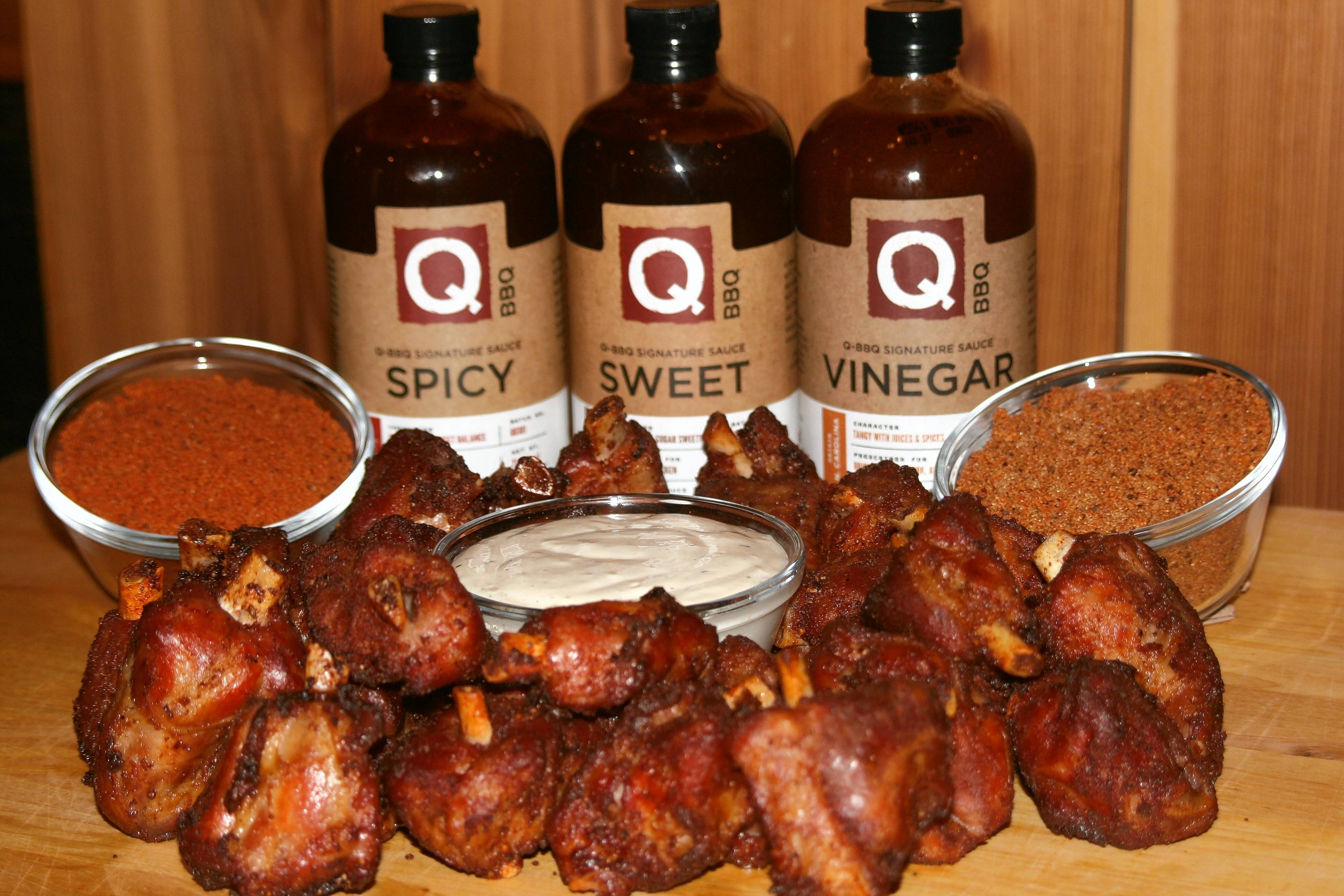 Q-BBQ will be selling hickory-smoked pork wings on the weekends from Friday, Jan. 4, through Super Bowl Sunday, Feb. 3.