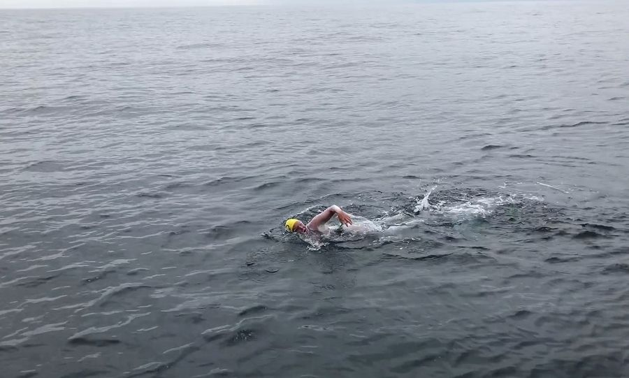 Marcia Cleveland swims the 22 miles of the North Channel between Ireland and Scotland.