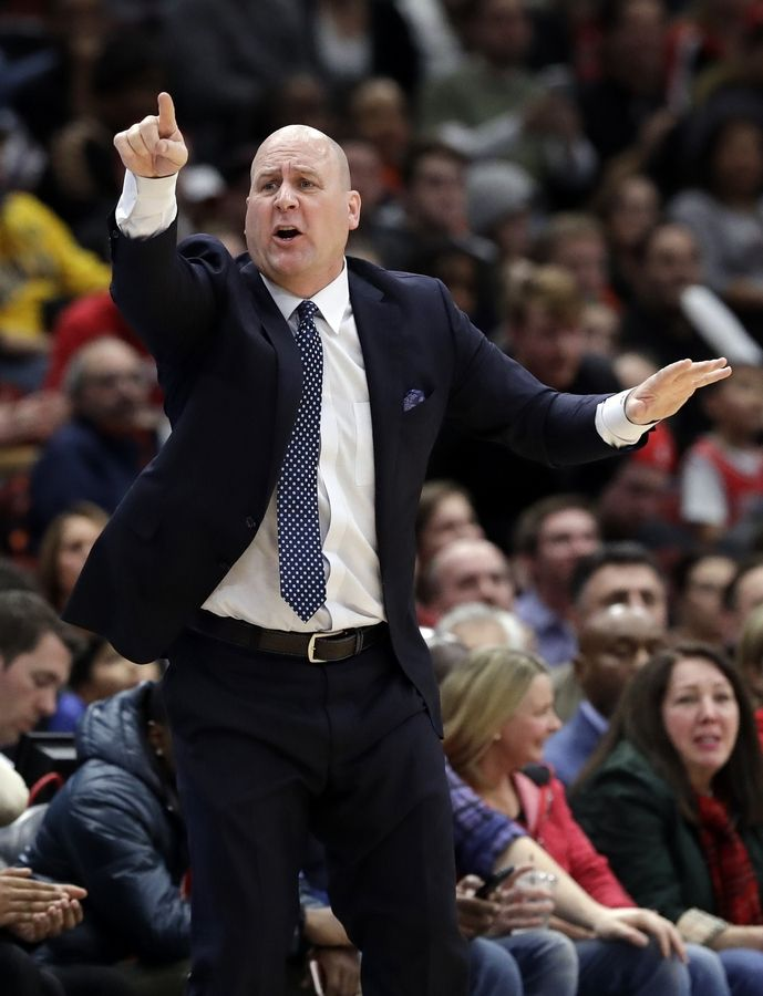 Bulls head coach Jim Boylen directs his team during overtime of a game Friday against the Indiana Pacers in Chicago. The Bulls' offense has been low-scoring and slow recently, but it seemed better in Friday's 119-116 overtime loss.