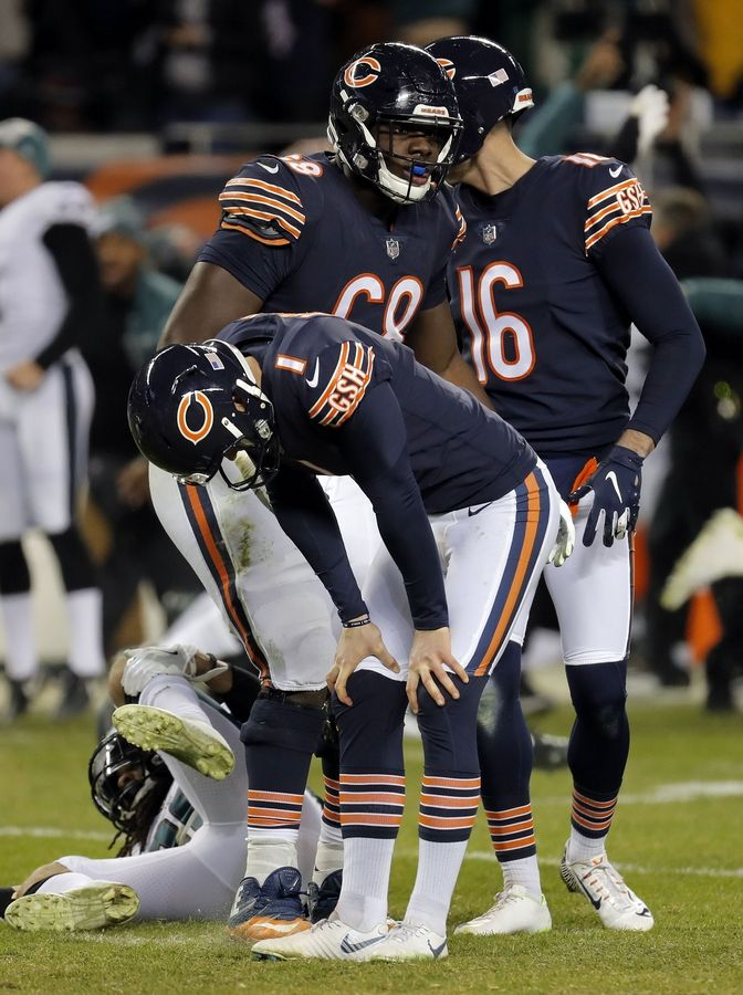 ea94b7ec96d Chicago Bears kicker Cody Parkey reacts after missing the potential  game-winning field goal with