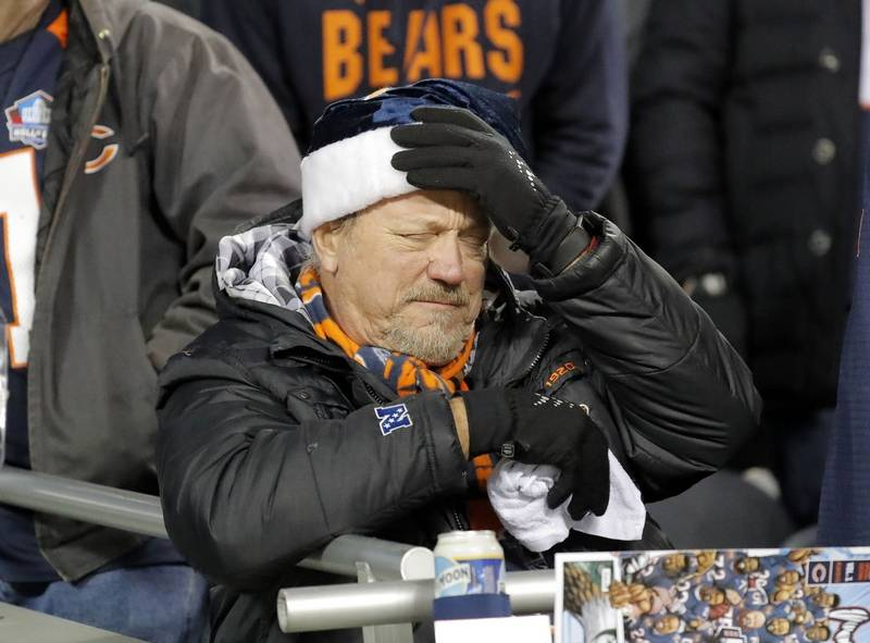Fans react during the Bears loss to the Eagles 16-15 in the NFC wild card game Sunday, January 6, 2019 at Soldier Field in Chicago.