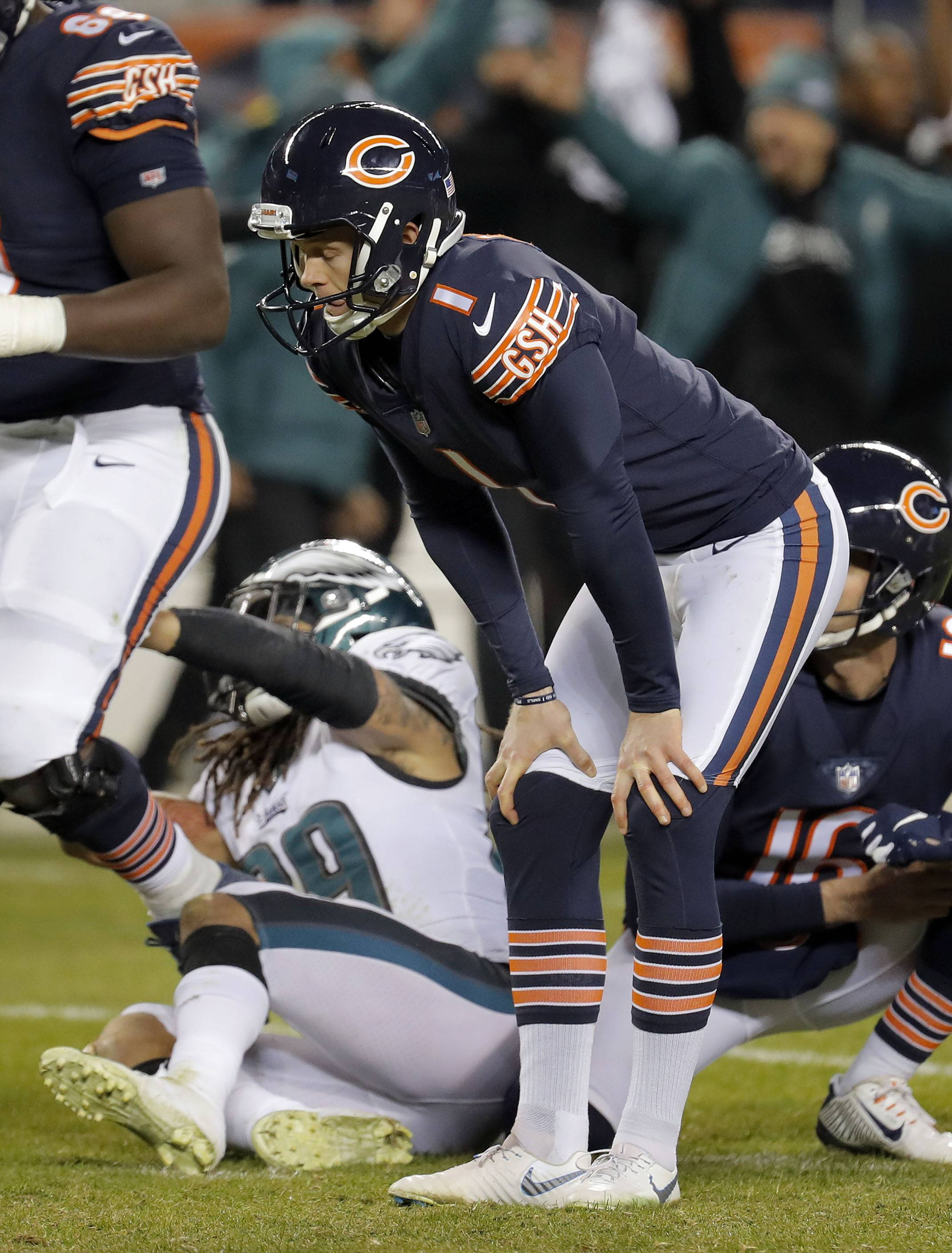 Chicago Bears kicker Cody Parkey reacts after missing a field goal during the Bears loss to the Eagles 16-15 in the NFC wild card game Sunday, January 6, 2019 at Soldier Field in Chicago.