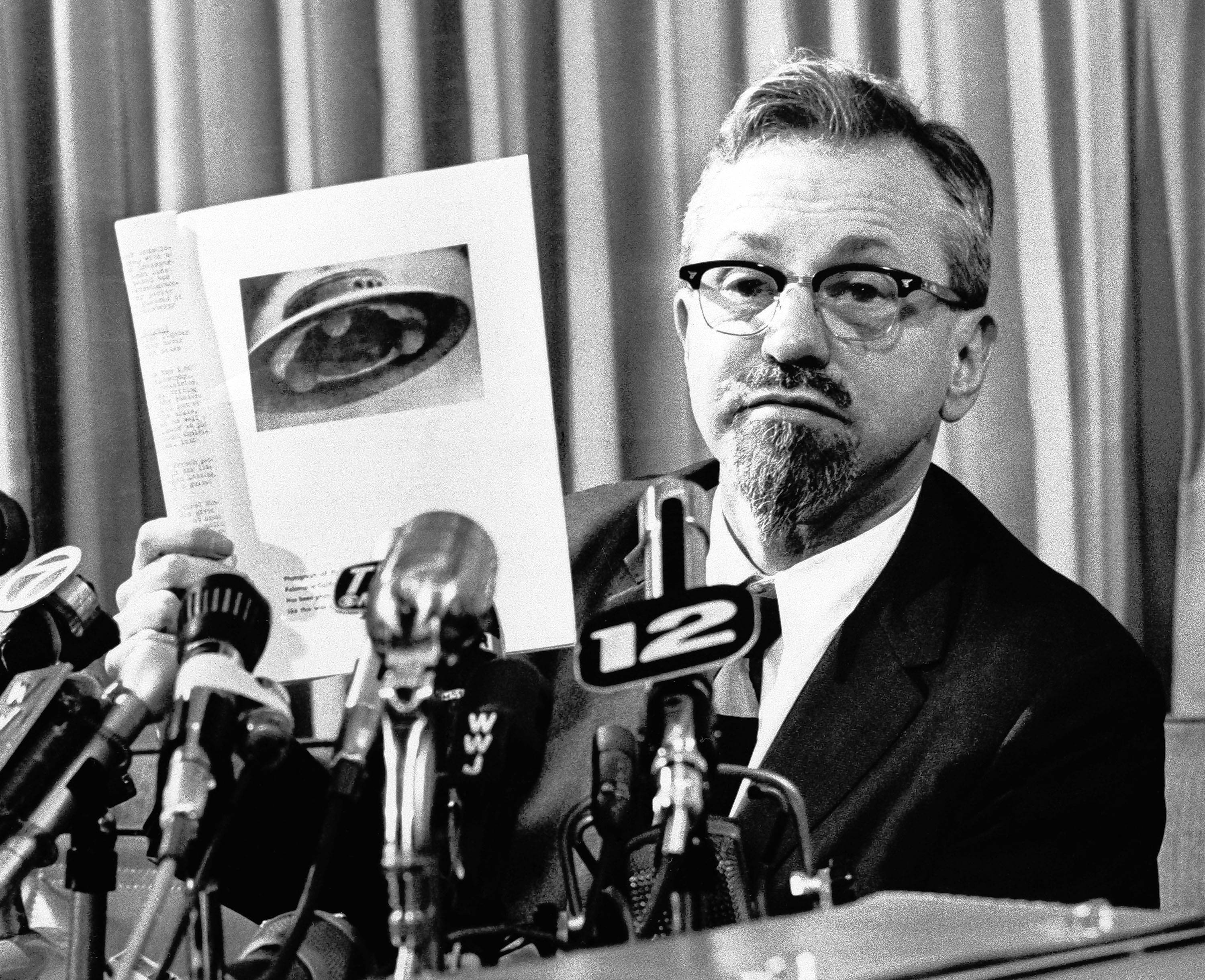 "Northwestern University astrophysicist J. Allen Hynek, shown here at a press conference in 1966, inspired the History channel drama series ""Project Blue Book."""