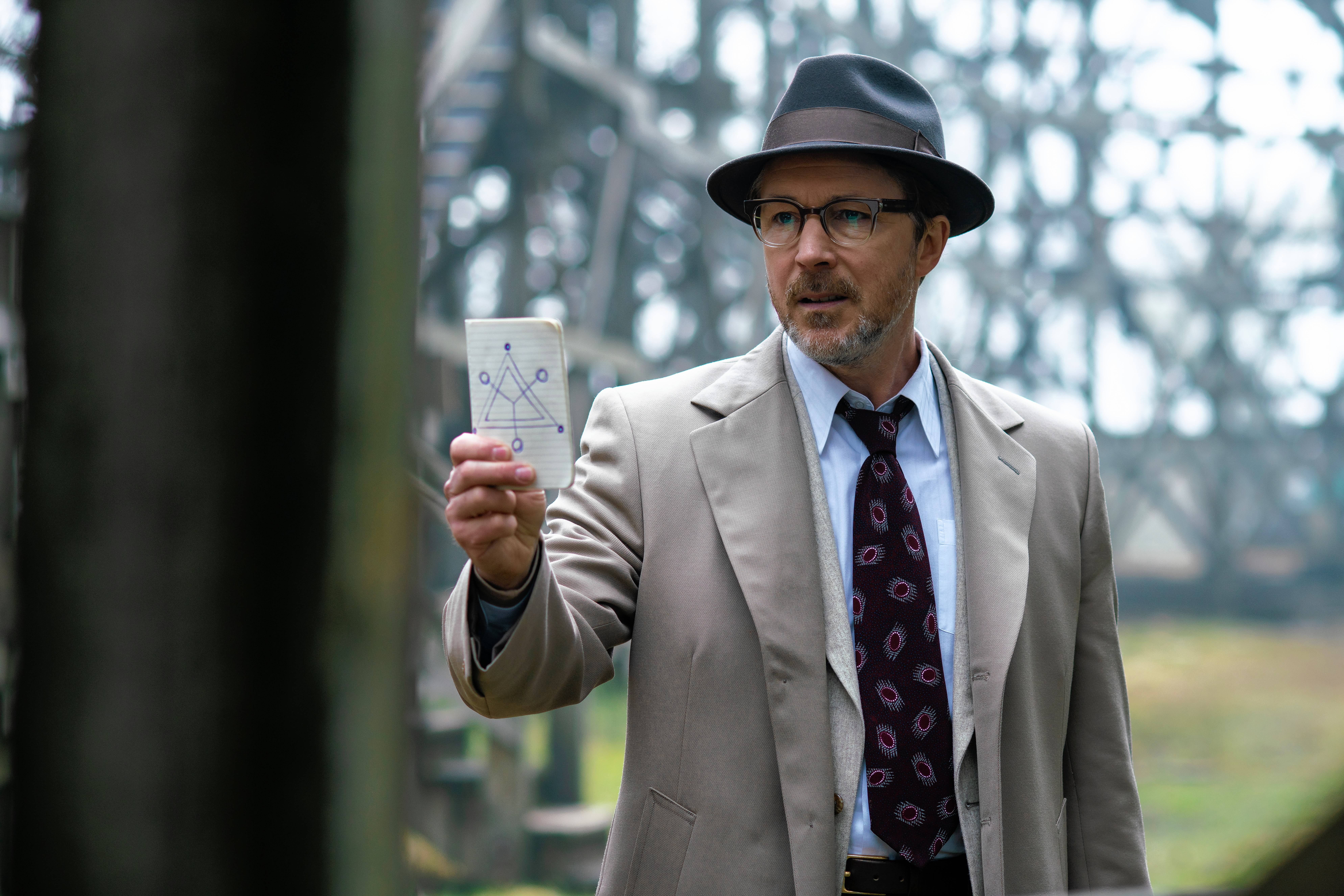 "Aidan Gillen portrays Dr. J. Allen Hynek in History's new drama series ""Project Blue Book,"" premiering Tuesday, Jan. 8."