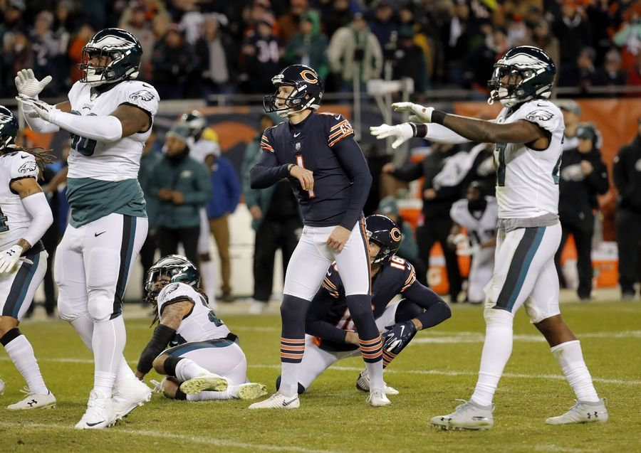 d3a2074da94 Eagles players signal no good As Chicago Bears kicker Cody Parkey looks on  during the Bears