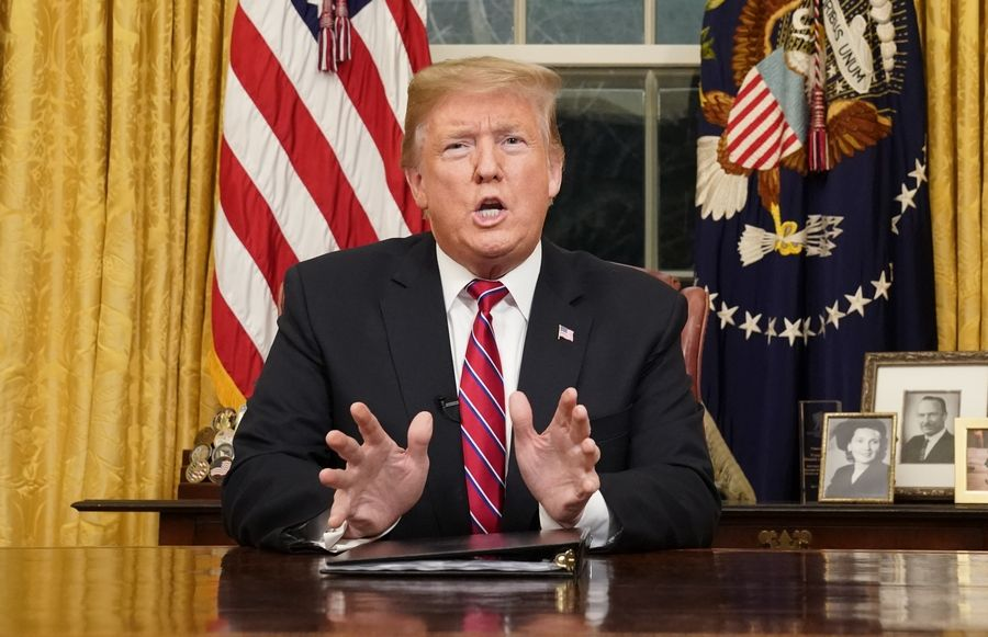 President Donald Trump speaks from the Oval Office of the White House as he gives a prime-time address about border security Tuesday in Washington.