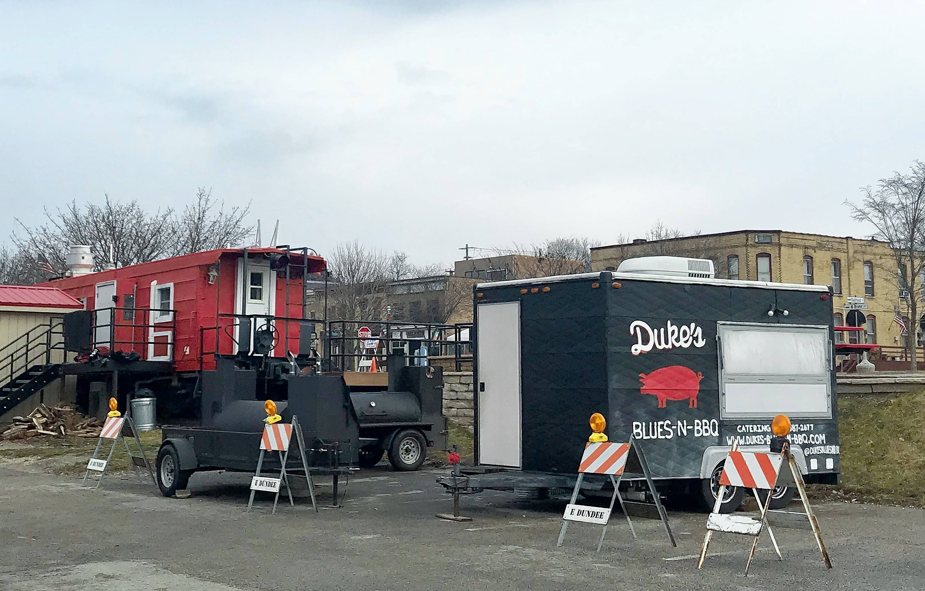 With the caboose concession stand closed for the winter, Duke's Blues-n-BBQ will temporarily operate out of a food truck in downtown East Dundee.