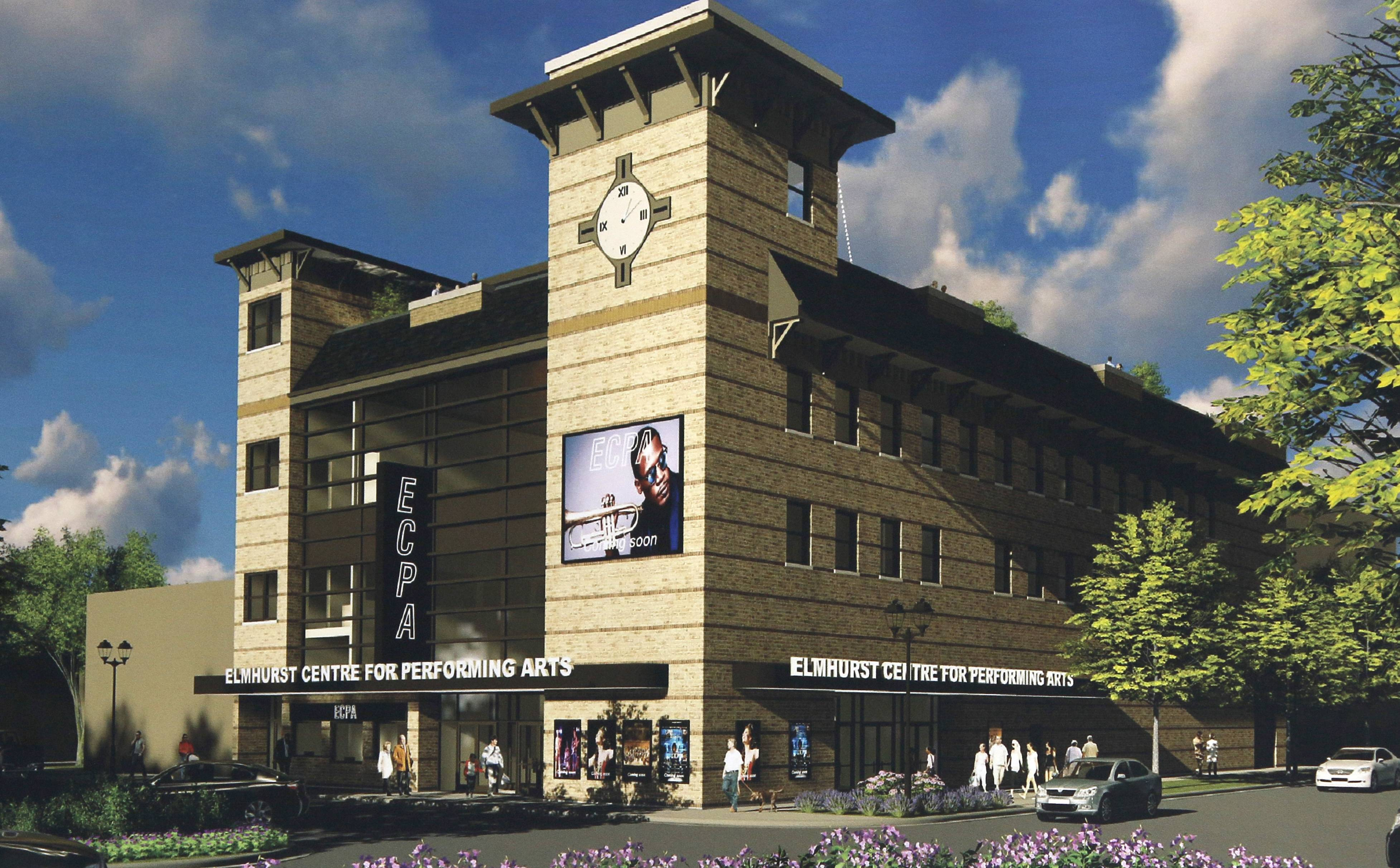 Members of the Elmhurst Centre for Performing Arts have signed a contract to buy a downtown site for a new theater complex that could cost $25 million. Architect Jeff Budgell produced the above rendering.