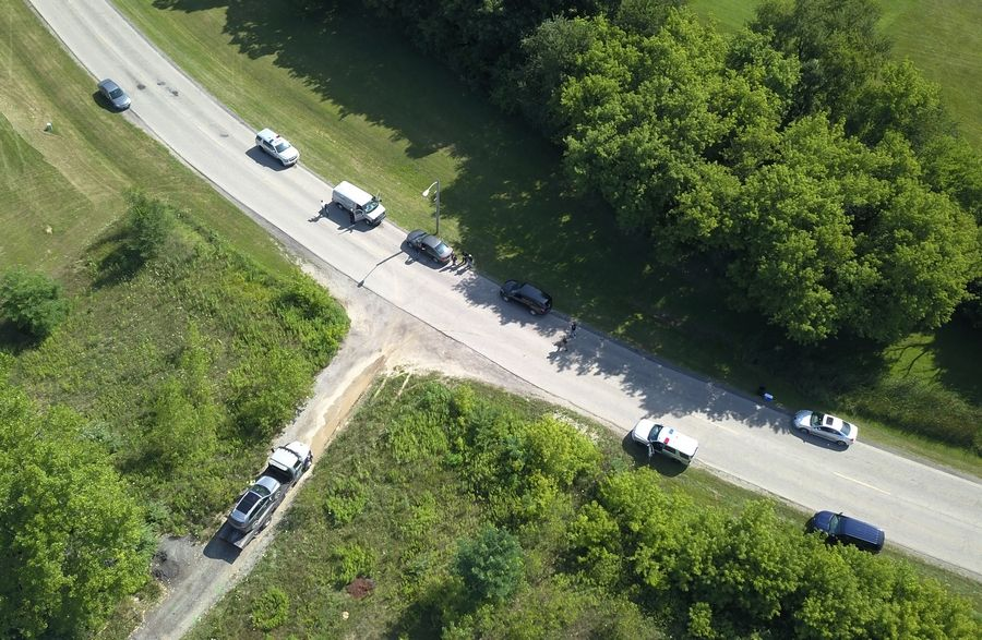 A view from a drone of the scene in Lakemoor, where an officer shot a Pennsylvania murder suspect to death after he pulled a gun on another officer early the morning of July 26, 2018.