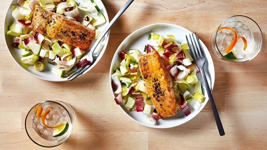 Honey Mustard Glazed Salmon With Endive and Green Apple Salad.