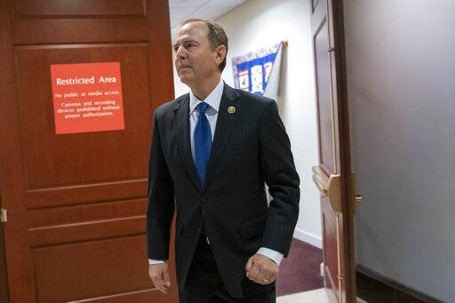 House Intelligence Committee Chairman Adam Schiff, D-Calif., arrives to speak with reporters after his panel voted in a closed session to send more than 50 interview transcripts from its now-closed Russia investigation to special counsel Robert Mueller, on Capitol Hill in Washington, Wednesday, Feb. 6, 2019. Two associates of President Donald Trump have been charged with lying to the committee and Schiff said Mueller should consider whether additional perjury charges are warranted.