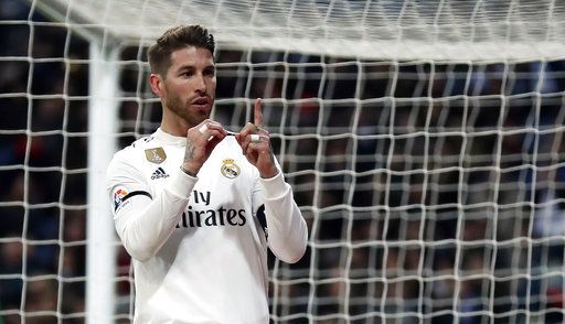 Real Madrid's Sergio Ramos celebrates after scoring a penalty during a Spanish Copa del Rey soccer match between Real Madrid and Leganes at the Bernabeu stadium in Madrid, Spain, Wednesday, Jan. 9, 2019.