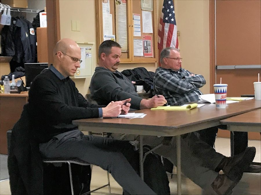 The Pingree Grove & Countryside Fire District board will not place a bond referendum question on the April ballot to replace two of three fire stations. Deputy Chief Jeff Childers, far right, said building a new station on Dittman Road would be most important.