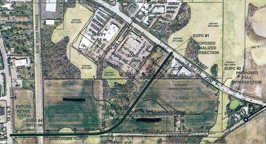 This map shows the realignment plans for Grimm Road in Antioch.