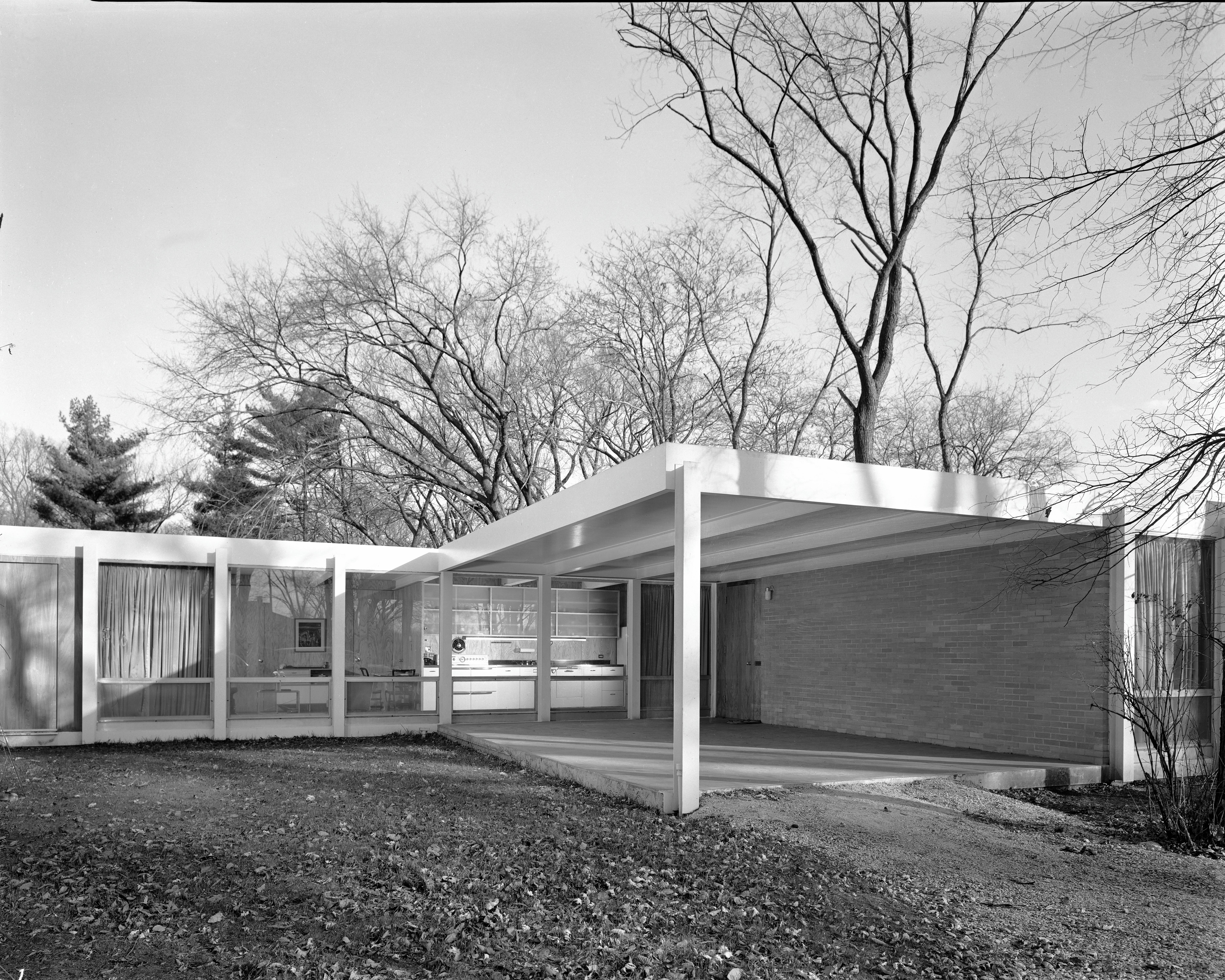 Photo from 1952 showing the exterior of the Robert H. McCormick, Jr. house, designed by Ludwig Mies van der Rohe and originally located at 299 Prospect Ave., Elmhurst.