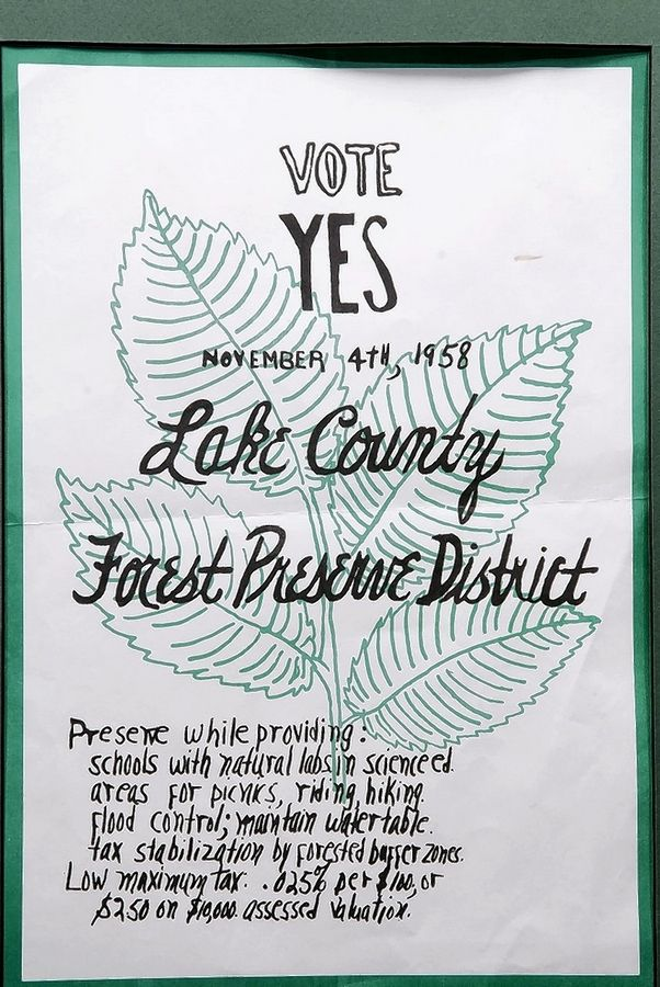 A flyer urging voters to support the 1958 referendum establishing the Lake County Forest Preserves. The referendum passed with 60 percent of the votes.