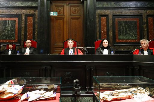Belgian judge Laurence Massart, center, presides over the trial of Mehdi Nemmouche at the Justice Palace in Brussels, Thursday, Jan. 10, 2019. Mehdi Nemmouche is accused of shooting dead four people at a Jewish museum in Belgium in 2014. (Francois Lenoir, Pool Photo via AP)