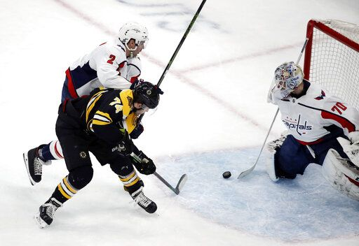 Washington Capitals goaltender Braden Holtby (70) makes a stick save against Boston Bruins left wing Jake DeBrusk (74) as Capitals defenseman Matt Niskanen (2) defends during the first period of an NHL hockey game Thursday, Jan. 10, 2019, in Boston.
