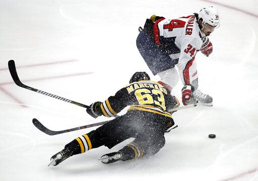 Boston Bruins left wing Brad Marchand (63) is dumped to the ice by Washington Capitals defenseman Jonas Siegenthaler (34) near the Capitals' goal during the first period of an NHL hockey game Thursday, Jan. 10, 2019, in Boston. Siegenthaler was penalized on the play.