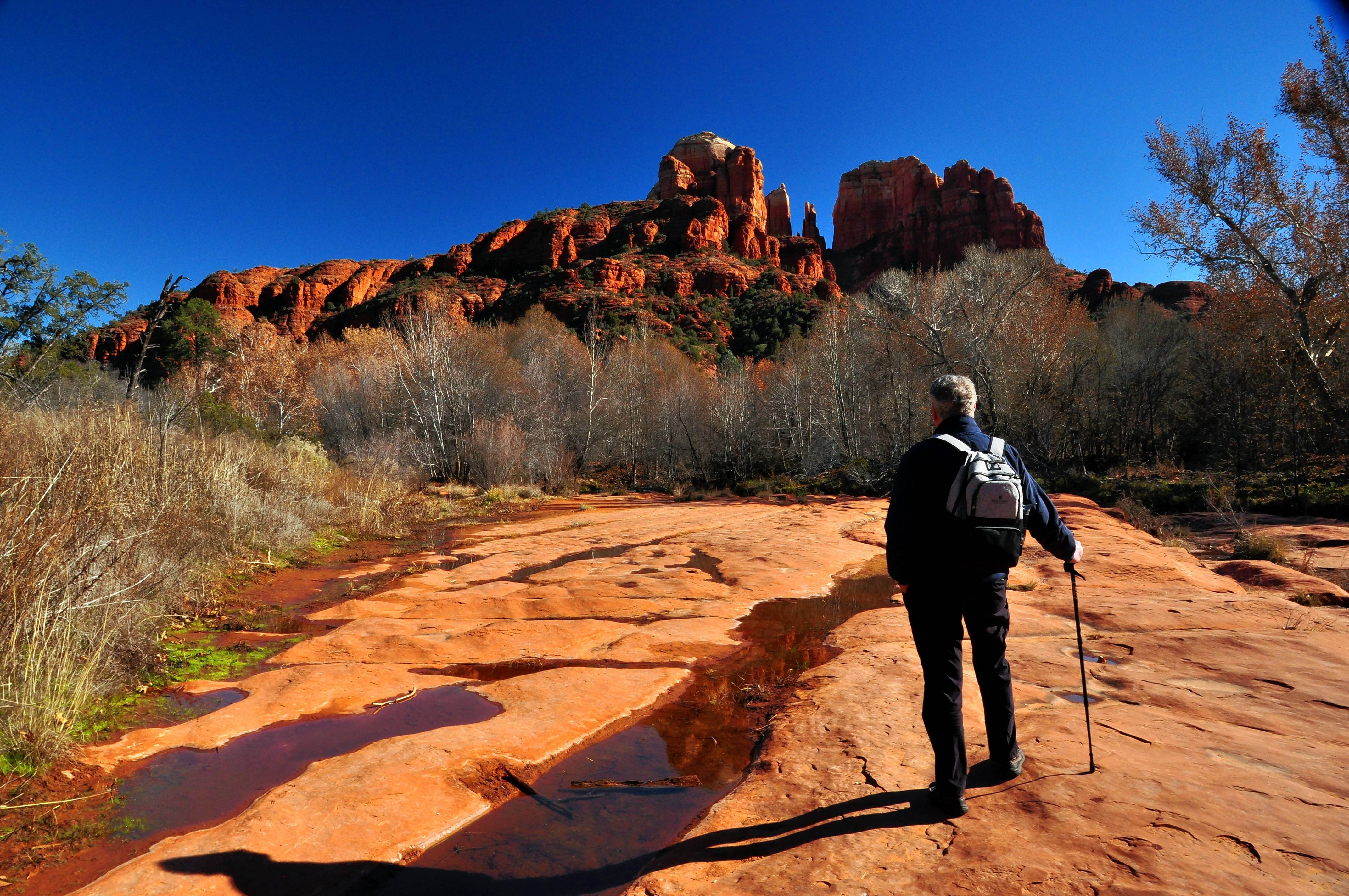 A hike in Crescent Moon Ranch off the Red Rock Loop Road in Sedona, Ariz., has great views of Cathedral Rock.