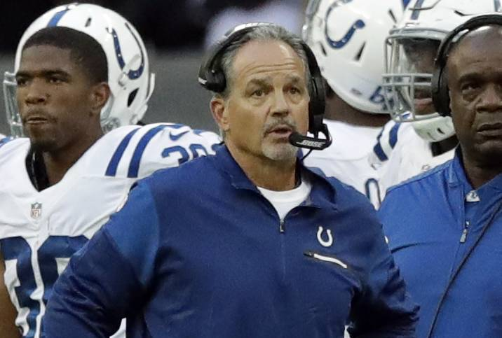 Indianapolis Colts head coach Chuck Pagano looks on during an NFL football game between the Indianapolis Colts and the Jacksonville Jaguars at Wembley stadium in London in 2016. The Bears annouced they'd hired Pagano as their new defensive on coordinator Friday night.