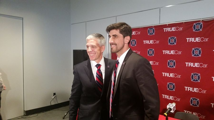 General manager Nelson Rodriguez introduces new Chicago Fire coach Veljko Paunovic to the media in 2015. The MLS SuperDraft came to Chicago Friday, but no players did, at least none the team could present to the hometown crowd.