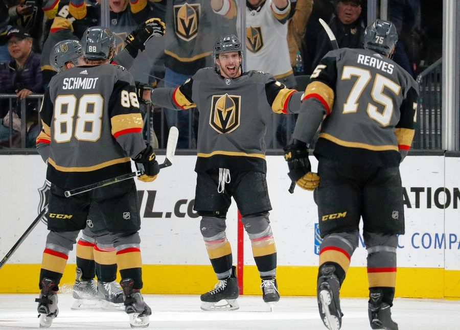 Vegas Golden Knights center Brandon Pirri, center, celebrates after scoring against the Los Angeles Kings during a Jan. 1 game. In the sports world, true second chances are rare for veteran players who get labeled and spend more than a season in the minors. But when they do occur, it's nice to see guys take advantage like former Chicago Blackhawks forward Pirri has done with the Vegas Golden Knights.