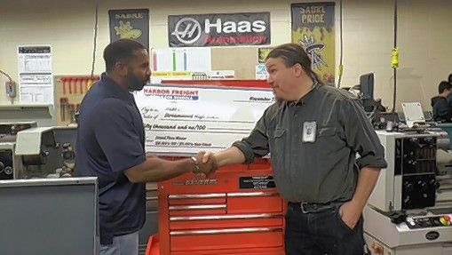 Matt Erbach, right, won second place in the 2018 Harbor Freight Tools for Schools Prize for Teaching Excellence.