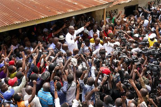 "Spurned Congo opposition candidate Martin Fayulu addresses supporters in Kinshasha, Congo, Friday, Jan. 11, 2019. Hundreds gathered to denounce what they called ""the people's stolen victory"" in the presidential election."