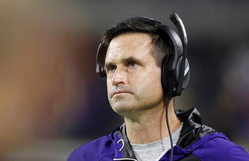 FILE- In this Dec. 1, 2016, file photo, Minnesota Vikings interim head coach Mike Priefer watches from the sideline during the second half of an NFL football game against Dallas Cowboys in Minneapolis. Former Vikings assistant Priefer will handle special teams for new Cleveland Browns coach Freddie Kitchens. Priefer, who was suspended three games by Minnesota in 2014 for an insensitive remark, released a statement Friday, Jan. 11, 2019, saying he is coming to Cleveland.