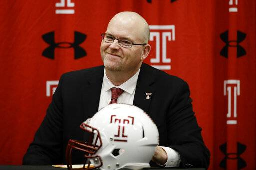 Incoming Temple head coach Rod Carey listens to his introduction during an NCAA college football news conference in Philadelphia, Friday, Jan. 11, 2019.