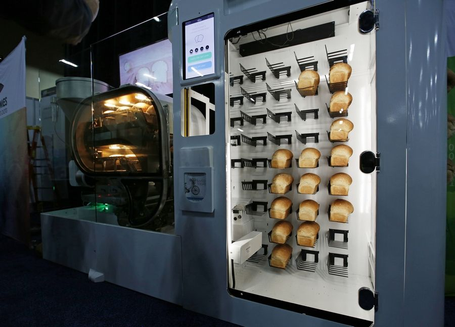 The Breadbot automatic bread baking machine is on display at the Wilkinson Baking Company booth during CES Unveiled at CES International, Sunday, Jan. 6, 2019, in Las Vegas.