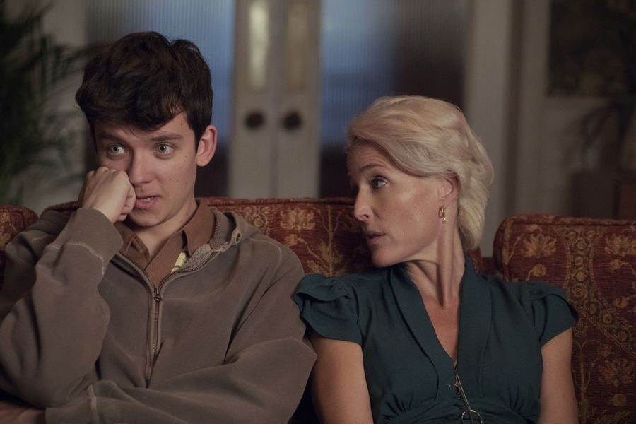 "Asa Butterfield and Gillian Anderson star as son and mom in Netflix's ""Sex Education."""