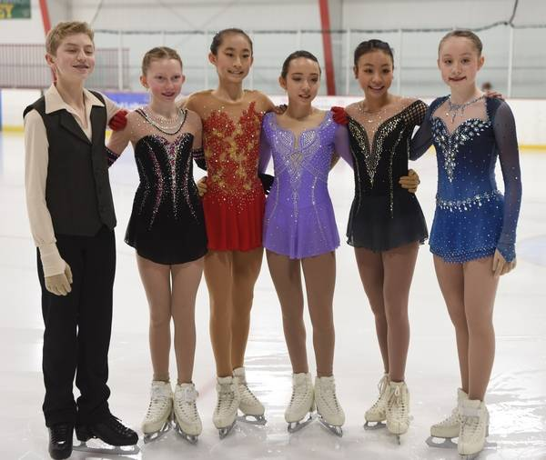 Twin Rinks Ice Pavilion in Buffalo Grove held a send-off Saturday for area figure skaters heading to the U.S. Figure Skating championships. Leff to right are skaters Matthew Soifer, Ava Neuhaus, Elsa Cheng, Calista Choi, Isabelle Inthisone and Hannah Lofton.