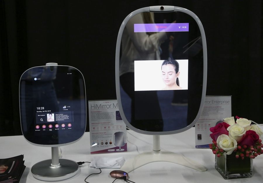 Two different sizes of the HiMirror uses its skin analysis technology, to assess your skin for wrinkles, fine lines, dark circles, dark spots, red spots, roughness, and pores, shown here at the CES Unveiled at CES International, Sunday, Jan. 6, 2019, in Las Vegas.