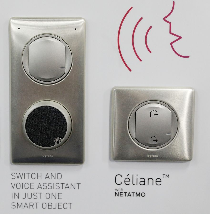 The Celiane voice assistant home switch is on display at the Legrand booth during CES Unveiled at CES International, Sunday, Jan. 6, 2019, in Las Vegas. The device is a switch installed in a home with built-in Alexa.
