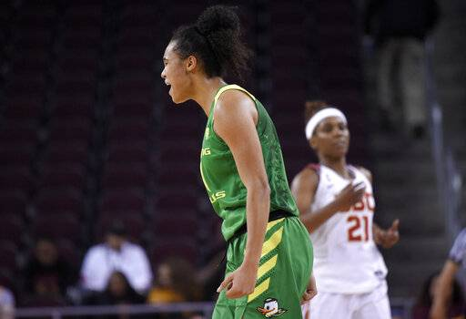 Oregon's Satou Sabally, front, celebrates after scoring as Southern California's Aliyah Mazyck walks in the background during the second half of an NCAA college basketball game Friday, Jan. 11, 2019, in Los Angeles. Oregon won 93-53.