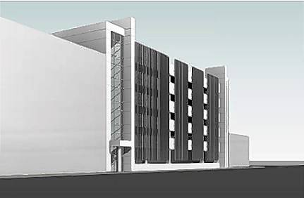 A rendering of the six-story, approximately $30 million parking deck Schaumburg officials are considering to serve the Schaumburg Convention Center and new businesses that would join a planned entertainment district nearby.