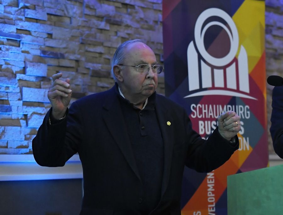 Schaumburg Mayor Al Larson talks about the accomplishments of 2018 as well as all 32 years in office during his final State of the Village address to the Schaumburg Business Association Tuesday morning.